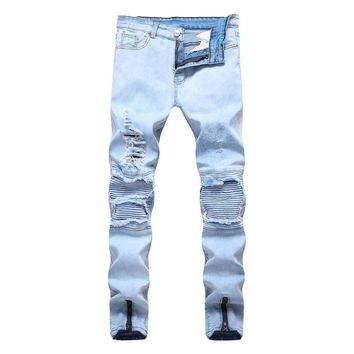Winter Ripped Holes Stretch Pants Jeans [1574710640733]