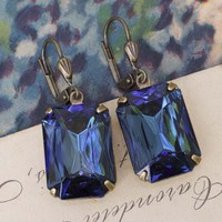 Montana Blue Czech Crystal Earrings by Amano Studio
