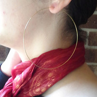 """Gold Plated Earrings 4"""" inch Open Hoops Threader Dangle Jumbo Giant Large Self Closure Simple Modern Wholesale 700"""