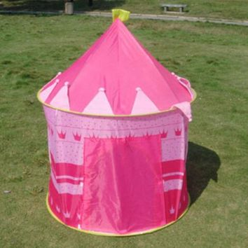New Portable Blue Boys Folding Tent Play House Castle Tent for kids Outdoor Indo