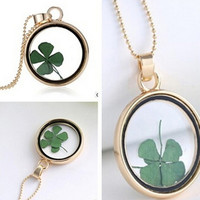 Dried Flower Clover Floating Locket Memory Living Pendant Necklace Gold Plated Jewelry   Plant Flower 60CM Chain Necklace SM6
