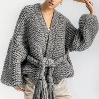 Causey 2018  Hand Knitted Cardigans Women Coat Autumn Winter Long Sleeve Loose Sweater Women Poncho Sashes Crochet Cardigan