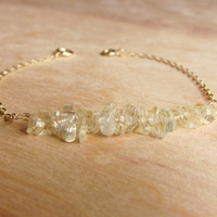 Pale Yellow Citrine Chip and 14k Gold Bracelet - Citrine Jewelry - Yellow Bracelet - Stone Chip Bracelet - Delicate - Stacked - Minimalist