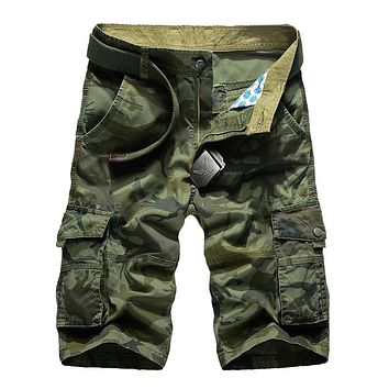 Men's Camouflage Camo Casual Cargo Shorts Male Loose Work Military Short Pants FREE SHIPPING