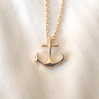Gold Anchor Necklace - dainty, cute and lovely anchor pendant jewelry; minimalist anchor necklace, navy anchor