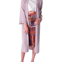 Easy Layering Long Sweater Cardigan - Gray Taupe