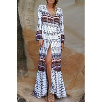 White Bohemian Printed Beach Dress