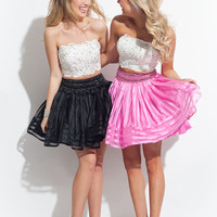 2 Pieces Short Prom Dresses White Black and Fushia Prom Gowns 2017 Lace Beaed Plus Size Sexy Party Evening Sh0112