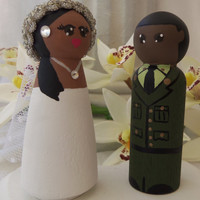 Wedding Cake Topper, Customized Bride and Groom Topper, Military Wedding Accessory