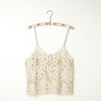 Free People Beaded and Studded Battenburg Crop Cami