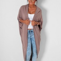 Gingko Stone Grey Batwing Knit Cardigan | Pink Boutique