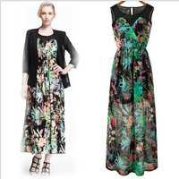 Cutout Mesh Floral Print sleeveless A-Line Maxi Dress