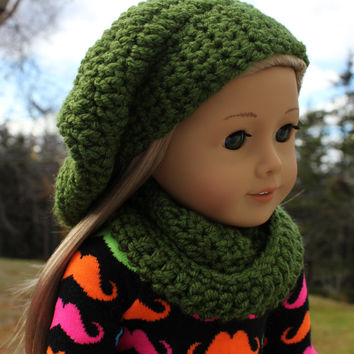 fren green beret style crochet slouch hat with infinity scarf,  18 inch doll clothes, American girl, Maplelea