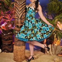 Hawaiian Inspired Pin up Wing Bust Dress