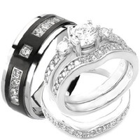 4 pcs His & Hers, STERLING SILVER & TITANIUM Wedding Rings Set. AVAILABLE SIZES men's 7,8,9,10,11,12,13; women's: 5,6,7,8,9,10. EMAIL US SIZES THAT YOU NEED