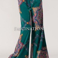 Brand New with Labels Bohemian / Hippie Vintage Hunter Green Paisley Print Wide Leg Bell Bottom Palazzo Pants S / M EXTREMELY LIMITED