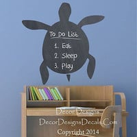 Turtle Chalkboard Vinyl Wall Decal Sticker
