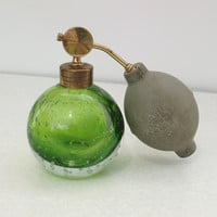 Antique Perfume Bottle Glass Perfume Bottle Green by WhimzyThyme