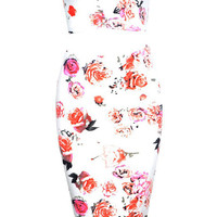 Floral Strapless Deep V-neck Cropped Top Bodycon Midi Dress Set
