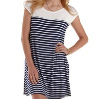 Navy Combo Cap Sleeve Striped T-Shirt Dress by Charlotte Russe