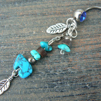 turquoise tribal zuni bear belly ring  zuni bear  in tribal native american inspired boho gypsy hippie belly dancer beach and hipster style