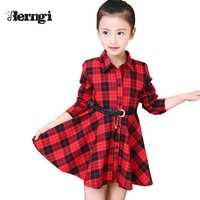 Girl Plaid Dress Kids New Spring Girls Dress Long Sleeved Children's Princess Teenager Children Two Colors Kids Clothes
