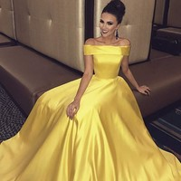 Evening Dresses Off the Shoulder Long Prom Dresses With Pocket