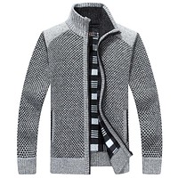 Male Turtleneck Knitwear Sweaters Loose thickening Men' s Sweaters Autumn And Winter Classic Splice Cardigan Wool Sweater Coat