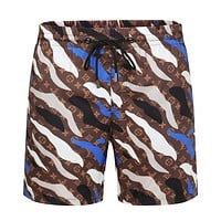 LV Louis Vuitton Camouflage Blue Coffee Beach Shorts Contrast LV print