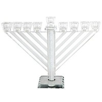 Crystal Menorah 21cm- Chabad Inlaid With Stones