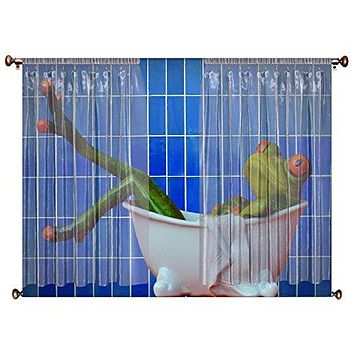Frog Taking a Bath, Bathroom Picture on Canvas Hung on Copper Rod, Ready to Hang, Wall Art Décor