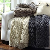 BRAIDED HAND KNIT THROW