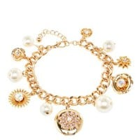 Pearl & Locket Charm Bracelet by Charlotte Russe - Gold
