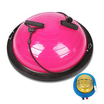 """CDCASA Balance Ball Balance Trainer, 23"""" Half Ball with Resistant Band, 4MM Thickened PVC, Weight: 660 lbs, Yoga Strength Exercise Fitness with Bonus Foot Pump, for Core Training Home Workout Pink"""