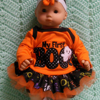 """AMERICAN GIRL Bitty Baby Clothes """"My First Boo"""" (15 inch) Halloween doll outfit  dress, shorts, socks, and headband/ hair clip"""