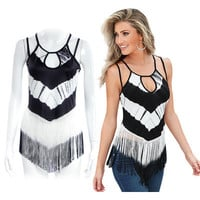 SIMPLE - Summer Tassel Black and White Spagehetti Strap Top a12248