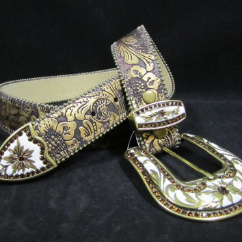 Wildfire Belts Gold with Porcelain Buckle Set