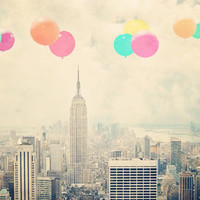 Balloons over the City Art Print by Maybesparrowphotography