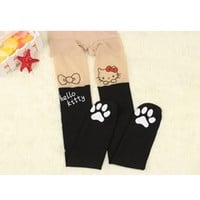 Black White Red Hello Kitty Mock Knee High Paw Footed Hosiery Pantyhose Tattoo Contrast Tights