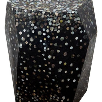Oly Studio Twilite Black Faceted Resin Mother of Pearl Resin Side Table