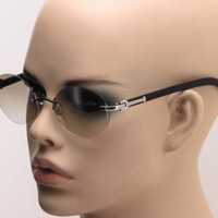 MAESTRO RIMLESS OVAL SUNGLASSES METAL FAUX WOOD MARBLE FRAME ROUND HIP HOP VTG