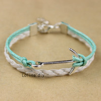 Anchor bracelet - wax rope braided leather bracelet, personalized friendship Christmas gifts