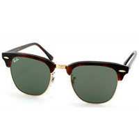 Ray-Ban RB 3016 Clubmaster W0366 Tortoise and Arista Gold Unisex Sunglasses