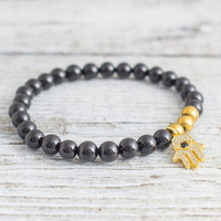 Black onyx beaded stretchy bracelet with micro pave gold Hamsa hand charm, made to order bracelet,  mens bracelet, womens bracelet