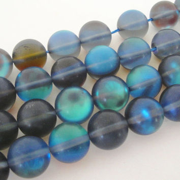 Blue Moonstone Shiny Matte Stone Round Beads  12mm,  Synthetic Glass Beads for Jewelry Beading