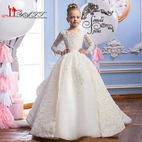 2017 Ball Gown Lace Flower Girls Dress with Long Train Full Beading Top Ruffles Skirt Girls Communion Prom Dress Pageant Gowns