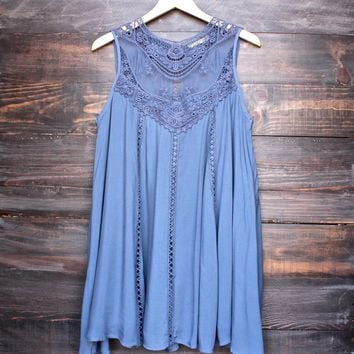 slate blue boho crochet lace dress