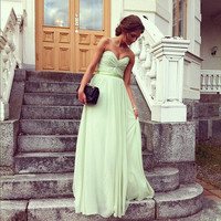 Mint Long Bridesmaid Dress With Strapless And Floor Length  Long Green Chiffon Prom Dress