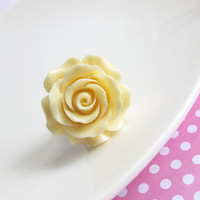 Large Rose. Pastel Flowers. Shabby Chic Ruffled Rose. Nickel Free Antiqued Brass Ring. Flower Cocktail ring. Simple Nature Inspired ring