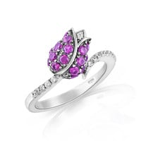 Sterling Silver Simulated Ruby Rose Ring